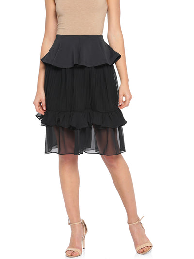 Black Circular Skirt with Ruffles