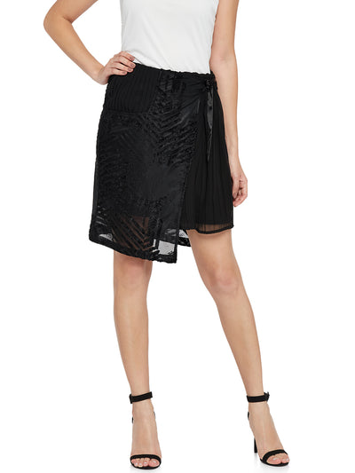 Black Designer Skirt with Wrap