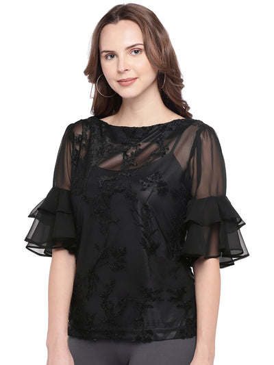 Black Designer Top with Circular Flounce Sleeves