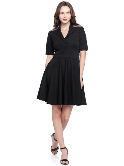 Black Fit and Flare Dress with Collar