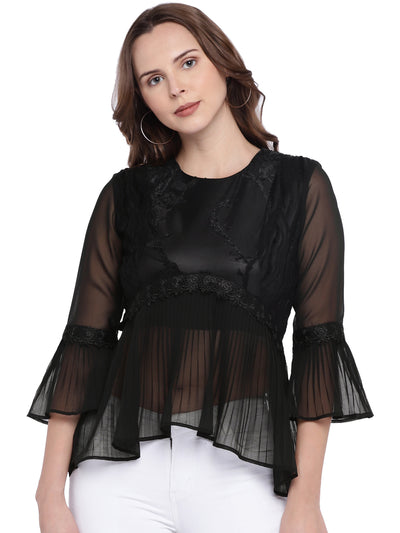 Black Peplum Fit and Flare Top