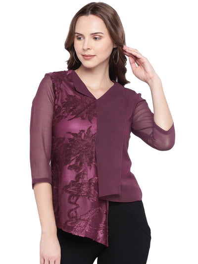 Designer Asymmetric top in Purple