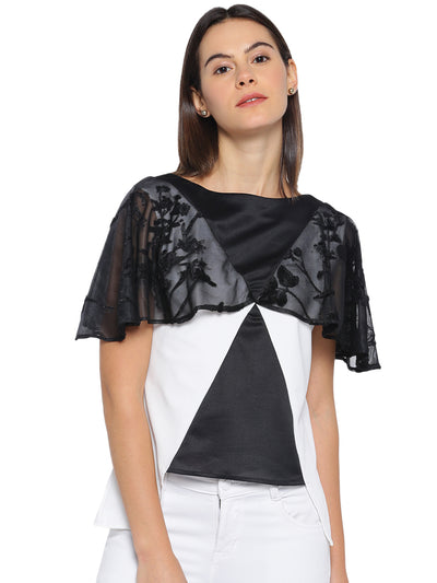 Designer Cape Top in Black and White