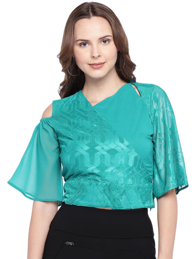 Designer Crop Top in Sea-Green