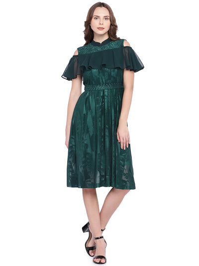 Designer Fit and Flare Dress in Green
