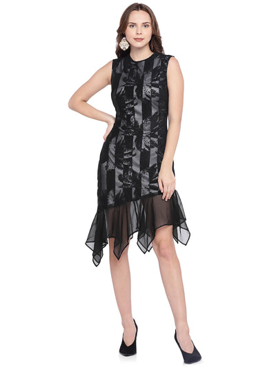 Designer Ruffle Dress in Black & White