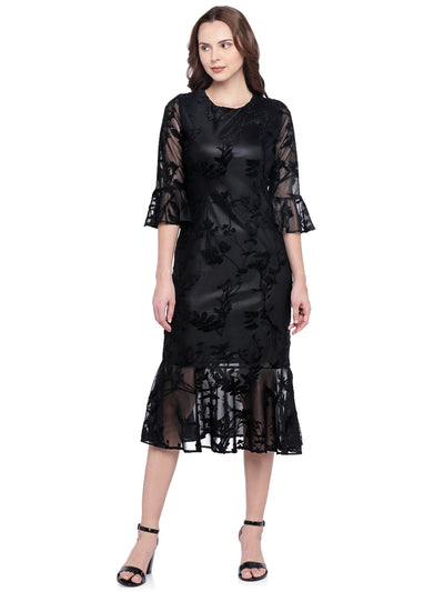Designer Ruffle Dress in Black