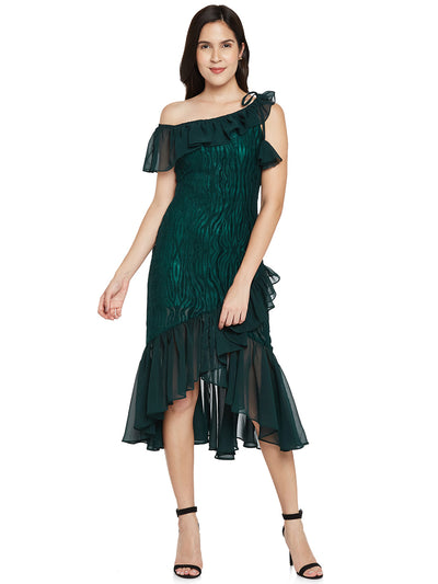 Designer Ruffle Dress in Green