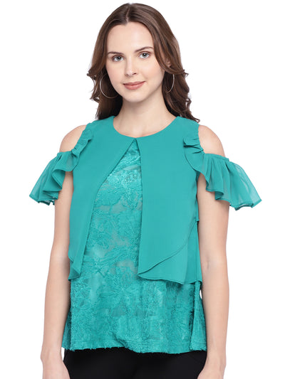 Designer Sea Green Top with Cold Shoulder Sleeves