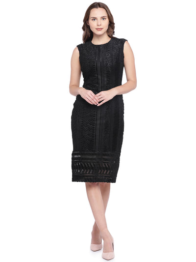 Designer Sheath Dress in Black