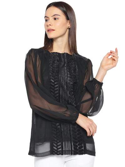 Designer Top in Black with Bishop Sleeves