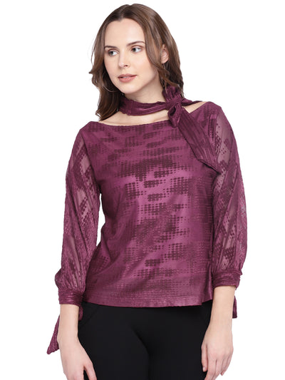 Designer Top in Wine with Collar and Tie-cuffs