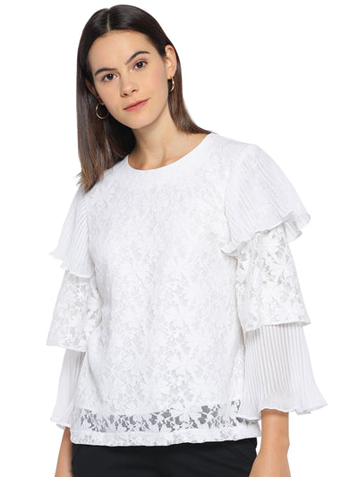 Designer White Top with Layered Sleeves