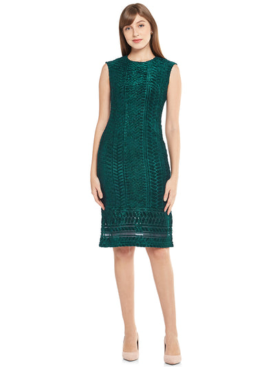 Buy sheath dress in green with self design at best price on Emmyrobe. This green dress is made of poly jacquard material and has Lycra lining. This beautiful sleeveless dress has round neck and has knee length. Shop for women's dresses online at lowest price on Emmyrobe.com