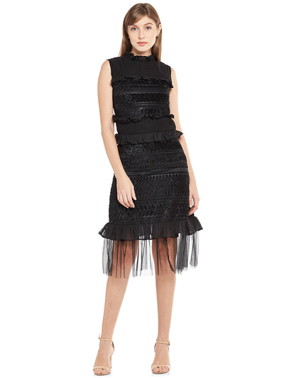 Tiered Ruffle Dress with Self-Design in Black