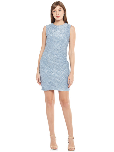 Ice-Blue Sheath Dress with Geometric Motifs