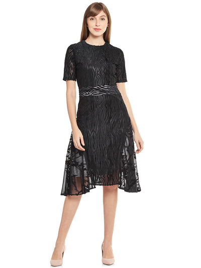 Designer A-Line Dress in Black