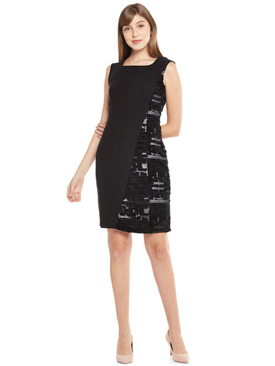 Sleeveless Sheath Dress in Jet-Black