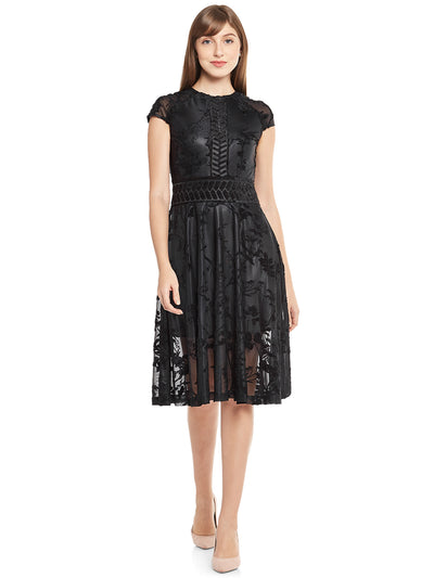 Knee-Length Black Gathered Dress