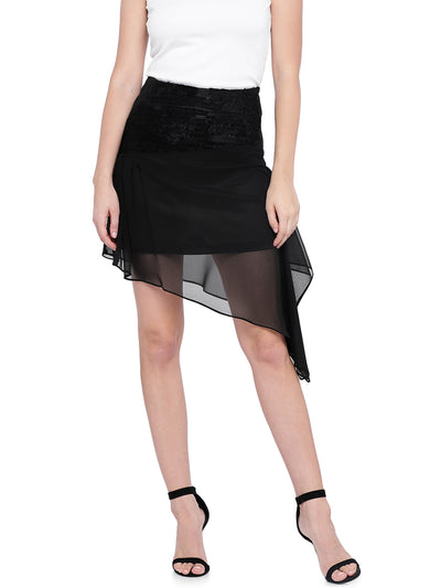 A-line Short Skirt with Asymmetric Hemline