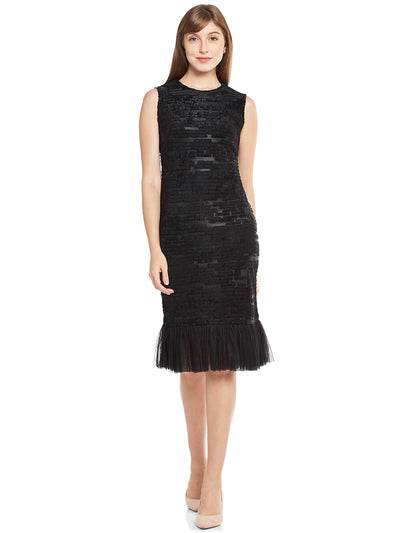 Sheath Dress with Ruffled Hemline in Black