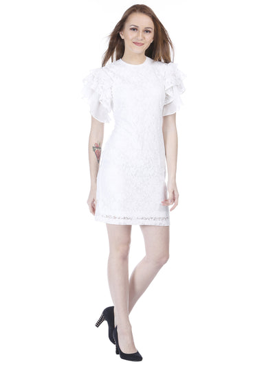 Elegant white Sheath Dress with Lace