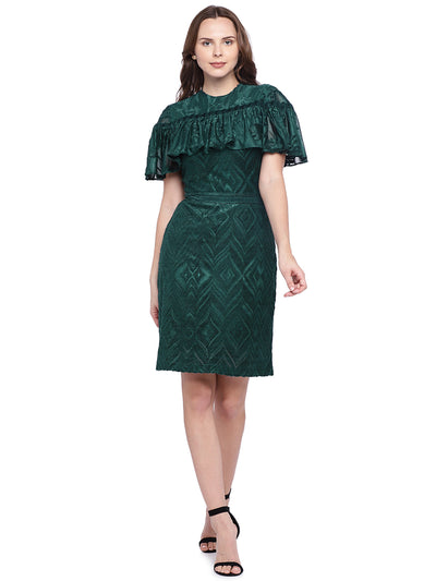 Elegant Green Covered Sleeve Dress