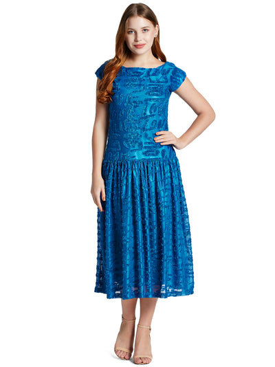 Emmyrobe Sleeveless Midi Dress in Peacock Blue-