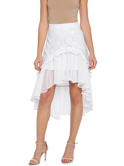 Fit and Flare Asymmetric Skirt in White
