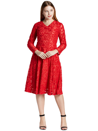 Fit and Flare Knee Length Dress in Red