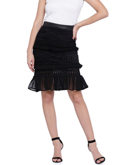 High-waist Trumpet Skirt in Black