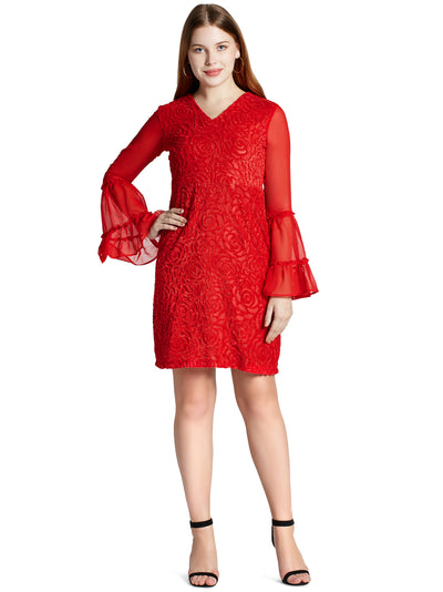 Long Belle Sleeves Floral Mini Dress in Red
