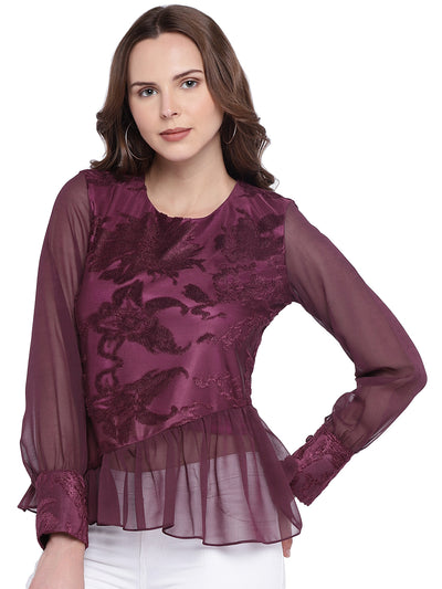 Peplum Top in Wine with Cuff Sleeves