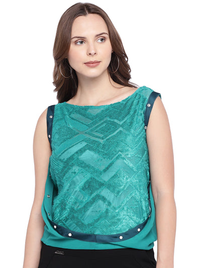 Sea-green Top with Woven Self-design