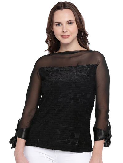 Self-design Black Top with Sheer Sleeves