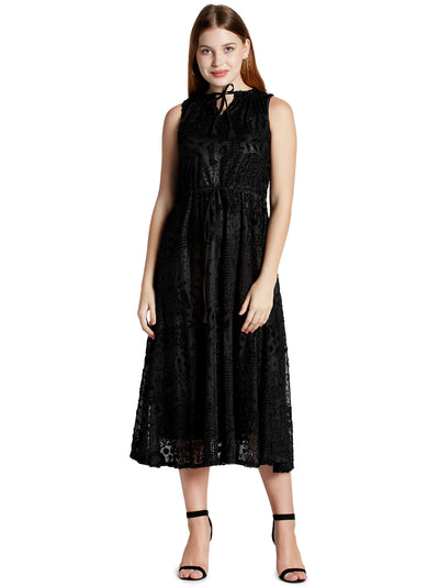Sleeveless Midi Dress in Black with Tie-ups