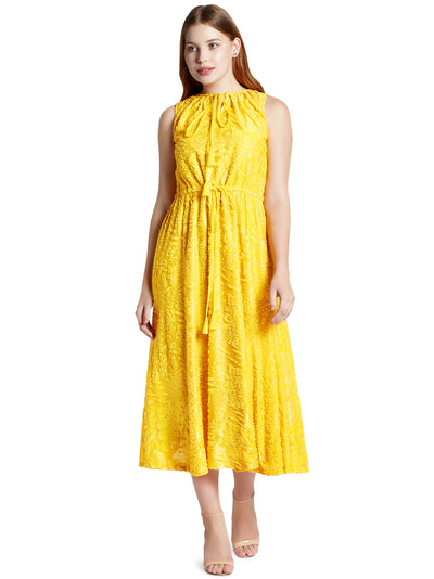 Sleeveless Midi Dress in Yellow with Tie-ups