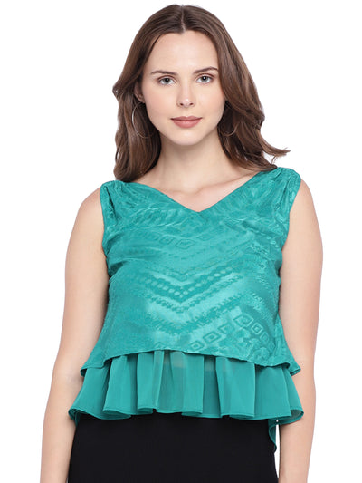 Sleeveless Peplum Crop Top in Sea Green