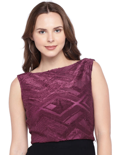Sleeveless Purple Top with Boat-Neck