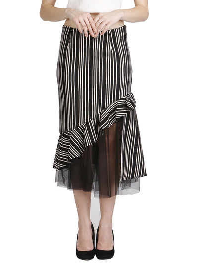 Black & White Striped Ruffle Skirt