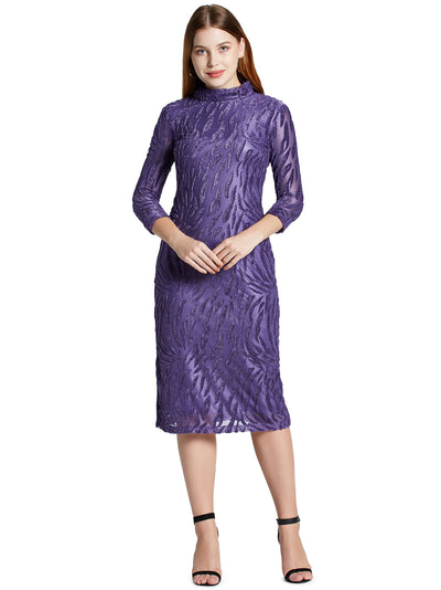 Turtle Neck Knee Length Dress in Purple