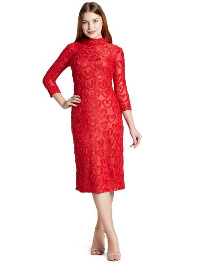 Turtle Neck Knee Length Dress in Red