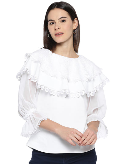 White Cape Top with Flounce Sleeves