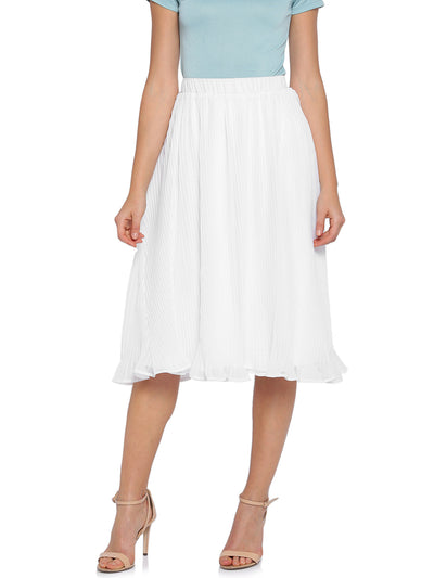 White Circular Skirt with Subtle Accordion Pleats