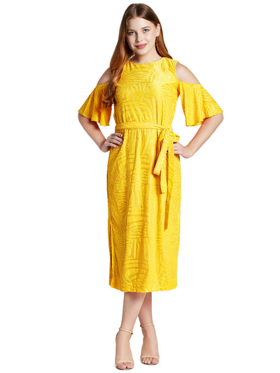 Women's Cold-Shoulder Midi Dress in Yellow with Waist Tie-up