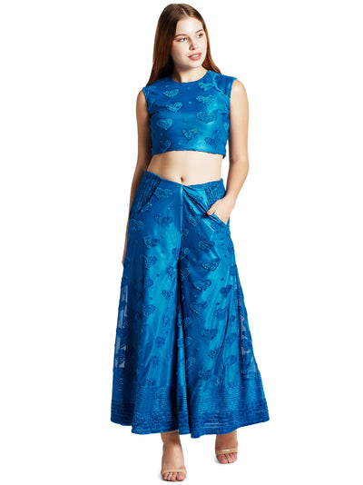 Women's Crop Top and Palazzo Set in Peacock Blue