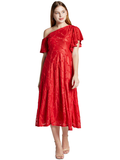Women's Cross Shoulder Midi Dress in Red