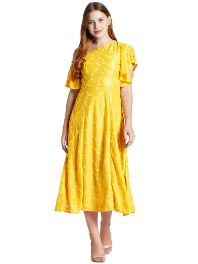 Women's Cross Shoulder Midi Dress in Yellow