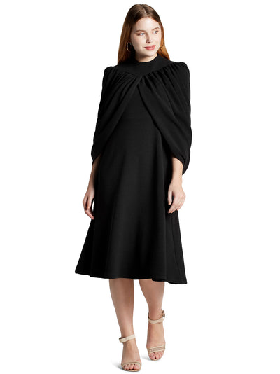 Women's Designer Midi Dress in Black