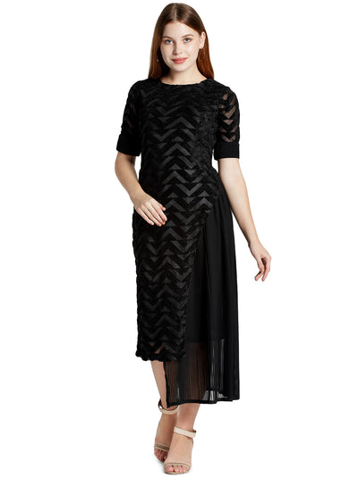 Women's Designer Pleated Midi Dress in Black